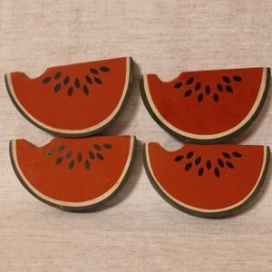 Imperfect Wooden Watermelon Decor - Set of Four
